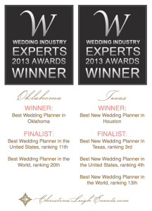 Wedding Industry Expert Awards. Christina Leigh Events.  Best Wedding Planner Oklahoma. best Wedding Planner Houston Texas